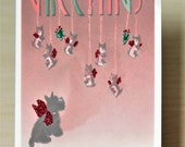 Scottie Christmas Card with Scottish Terrier Ornaments