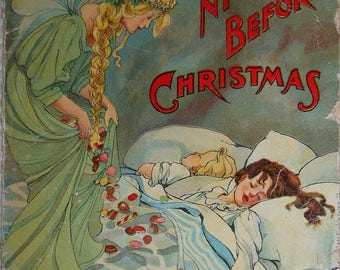 vintage mcloughlin bros night before christmas linen ill ives noble ca. 1901