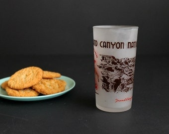 Vintage Grand Canyon National Park Souvenir Drinking Glass Frosted Anchor Hocking Glassware