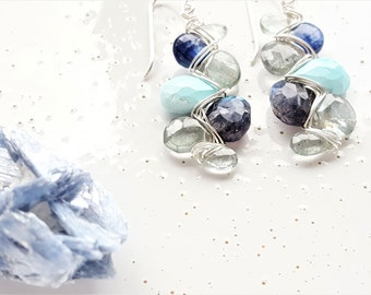 Sterling Silver, Moss Aquamarine, Kyanite, Sleeping Beauty Turquoise & Labradorite Woven Earrings