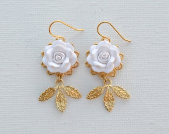 Kate Bridal Statement Earrings in White Rose and Gold Brass Leaves. Bridal Statement Earrings.