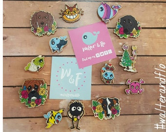 Hand drawn wooden needle minders :  Dogs, skulls & quirky kawaii walter whaley, red queen, vampire, Cheshire cat.