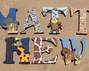 Safari Wooden Letters, Animal Woodel Letters, Safari Nursery Decor, Safari Nursery, Baby Nursery Safari, Safari Letters, Wooden Letters
