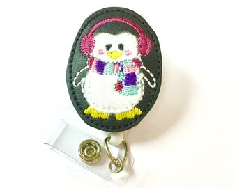 Winter Penguin - Cute Holiday Badge Clips - Unique Retractable ID Badge Holder - Felt Badge Reel - Holiday Badge ID Holders - BadgeBlooms