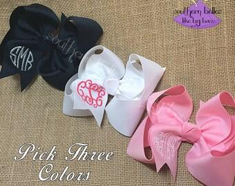 Monogrammed Baby Bow Gift Set, Monogram Bow Gift Set for Baby Girl, Gift for Baby, Bow with Monogram, Monogrammed Baby Bow Gift Set