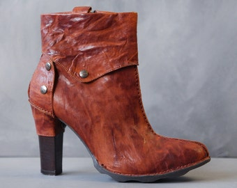 DIESEL vintage cognac brown leather high heel almond toe ankle boots shoes Size 36 6