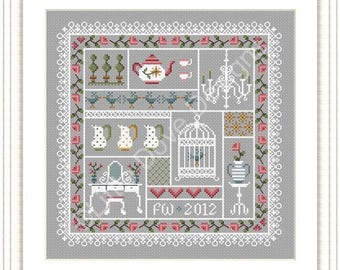INSTANT DOWNLOAD Shabby Chic Cross Stitch Sampler PDF Chart