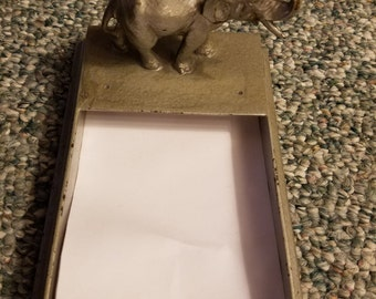Vintage Mid-Century Cast Iron Elephant Desk Top Note Paper Note Padre Holder