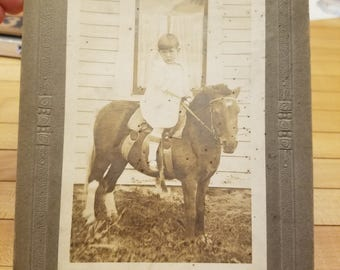 All Original Mounted Sepia Toned Child on Pony circa 1800s early 1900s original photograph