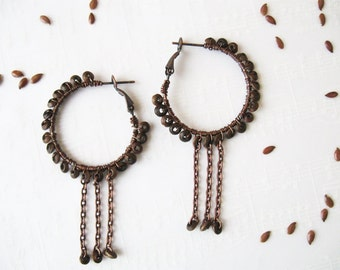 Hoop earrings, Boho earrings, Beaded earrings, Bohemian earrings, Natural wooden earrings