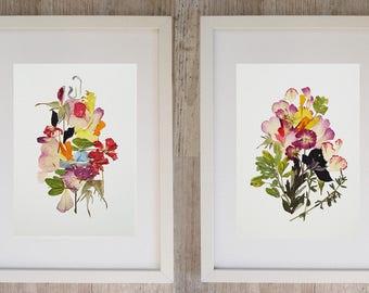 Framed set of 2 botanical print Dry flower art Botanical art Framed botanical print set Pressed flower Original floral print framed wall art