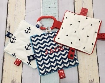 Baby Toys, Set of 3,  Nautical Theme Crinkle toys, can be personalized,  teething link included, 5  inch.  Babies love these.