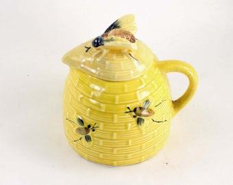 Vintage Beehive Honey Pot Pitcher Yellow