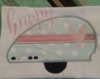 Happy Camper personalized machine embroidered shirt...Valentines Day...happy camper...heart...summer fun