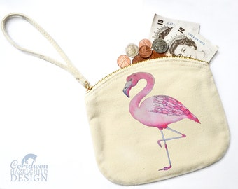 Flamingo Canvas Zip Purse, Makeup Bag, Coin Purse, Small Accessory Pouch