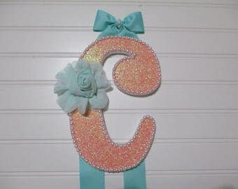 "BOW HOLDER teal and peach, Initial ""C"", luscious teal rose, pearl blingy trim, teal ribbon, little bows on ends"
