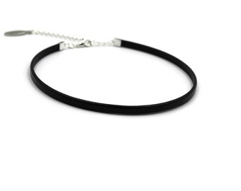 Thin Flat Leather Cord Choker Black 5mm, High Quality, Skinny, Minimal, Fashion, Sexy - Custom MADE to YOUR SIZE on request