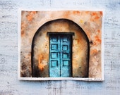 Old door original watercolor painting 9x11 orange rust brown blue rustic boho sketch
