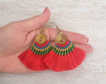 Sexy Red Silk Tassel Earrings Festival Tassel Earrings Tassle Earings Gypsy Tassle Jewelry Dangle Earrings Trending Now Wholesale Jewelry