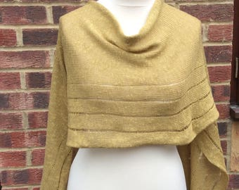 Pure Linen Shawl .Wedding Shawl . Mustard Linen Summer Wrap .Evening Shawl  .Elegant Dress stole. Bridesmaids  Shawl Mothers day Gift