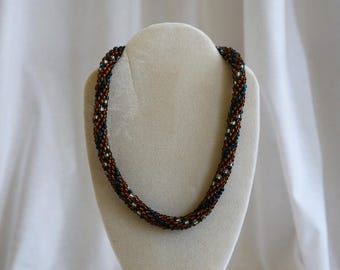 Amber, Blue and White Crotchet Beaded Necklace
