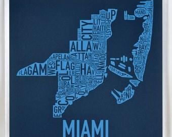 Miami Neighborhood Map Poster or Print, Original Artist of Type City Neighborhood Map Designs, Typography Map Art