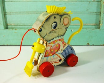 Vintage Fisher Price Merry Mousewife Mouse with Apron and Broom Pull Toy, 1962