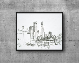 Chicago photography art print - 8x10 Sears Tower sketch outline