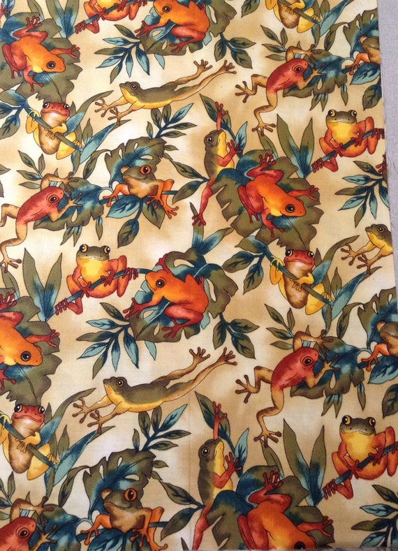Autumn Frogs Fabric, Fat Quarter from PeachPalaceDesigns ...