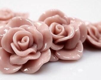 Resin Cabochon - 5pcs - Flower Cabochon - Nude Mauve Flower Cabochon - Cabochon - SW005-21