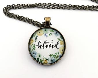 Word beloved necklace - blue and yellow watercolor flowers - inspirational jewelry - inspirational word pendant - Guatemala orphan gift