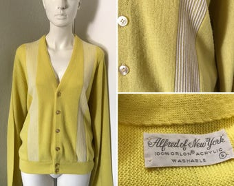 Vintage 60s 70s Alfred of New York cardigan RARE yellow with White robbing small orlon preppy nerdy geeky boyfriend sweater