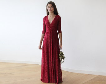 RESERVED ORDER - Bordeaux long sleeves lace gown 1124