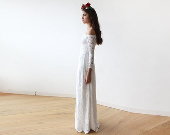 Off-The-Shoulder Bridal Ivory Floral Lace Long Sleeve Maxi Dress 1119