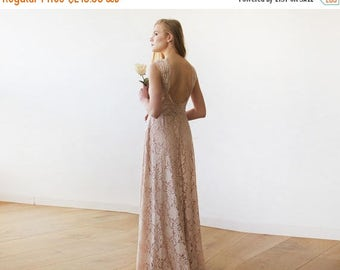Spring Sale Open back lace maxi dress, sleeveless blush bridesmaids gown 1141