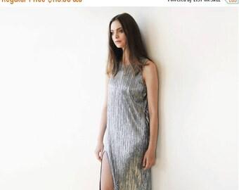 30% OFF - Blush Birthday Metallic pleated maxi dress, Silver maxi sleeveless gown, Glamorous party dress 1073