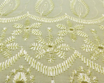 Cotton Embroidered Eyelet Yellow 42 Inch Fabric by the yard - 1 Yard