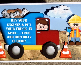 Any Birthday Truck Themed Birthday Handmade 3D Greeting Card with Paper Stacking Technique