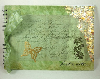 Large Scrapbook Album, A4 size, Journal, Art Journal, Photograph Album,Memory Book, Art Journaling,Scrapbooking, Green Butterfly Mixed Media