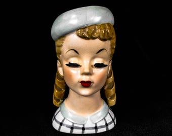 Vintage Lady Head Vase - Mid Century Lady Head Vase, Mid Century Decor, Teenage Girl Head Vase