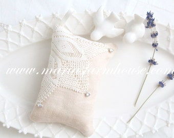 Handmade Dried Lavender Sachet with Swarovski Rhinestones, Vintage Cochet & Satin Ribbon, Doilie Motif, Gifts for Her