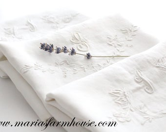"""PILLOWCASE, 20th Century French Trousseau, Script Monogram, Embroidered Letter """"L"""", Bolster Ivory Pillow Case, Heirloom, Gifts for Her"""