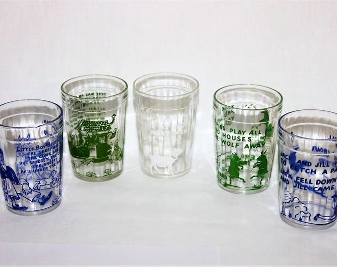 Vintage set of Five 1940s Hazel Atlas Nursery Rhyme Drinking Glasses / Juice Glasses