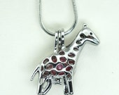 Pick A Pearl Cage Silver Plated Giraffe Zoo Animal Holds Bead Gem Pearl Charm