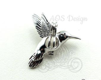925 Pick A Pearl Cage Necklace Sterling Silver 925 Hummingbird Bird Flying Locket Charm Holds Beads