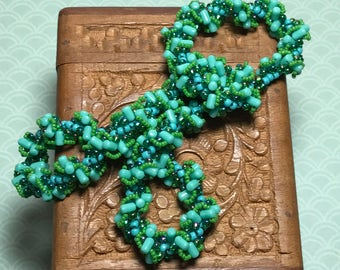 Spiral Rope Necklace Aqua Beaded Necklace Twist Necklace Teal Beaded Necklace Bead Twist Necklace Beadwoven Necklace Bead Swirl Necklace