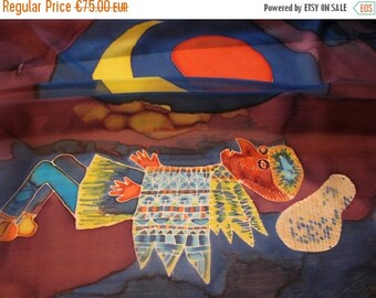 SALE Hand painted square silk scarf by Paul Klee artwork - ready to ship