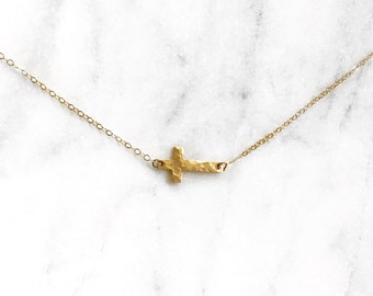 The Grace Necklace - 14k Gold Filled Cross - Gold Filled Sideways Cross Necklace - By Kristina&Co on Etsy