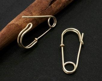 Safety pin earring, Gold hoop earrings, Gold safety pins, Safety pin earrings gold, Solidarity earrings, Safety pin earrings