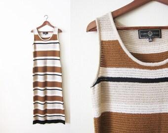 St. John Sport by Marie Gray Dress / St John Knit Dress / 90s Maxi Dress / Striped Long Dress S M